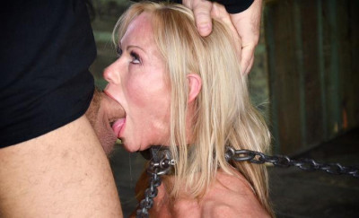 MILF Simone Sonay chained down, hooded, multiple orgasms while sucking