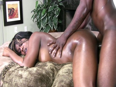 Chocolate babe with big oily ass