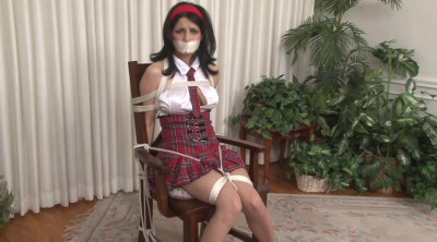 Bound and Gagged – Topless Schoolgirl Chair-Bound – Hannah Perez