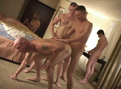Brutal mature men in hard orgy