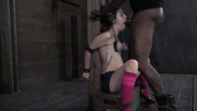 SB – Tiny Tegan Tate Is Bound, Endures An Amazing Throat Fucking By 2 Big Cocks – HD