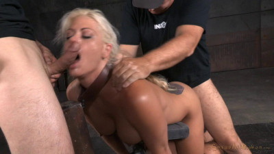 Holly Heart - Tanned MILF bent over in bondage and used hard from both ends (2015)