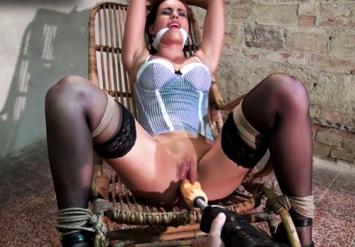 Jenny chairbound cleavegagged legs spread machine-fucked (2014)