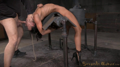 Flexible London River Bound To A Sybian In A Brutal Backarch And Throatboarded By Hard Cock