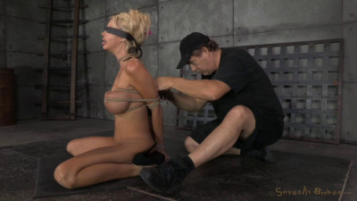 Big titted blonde Courtney Taylor bound blindfolded and facefucked