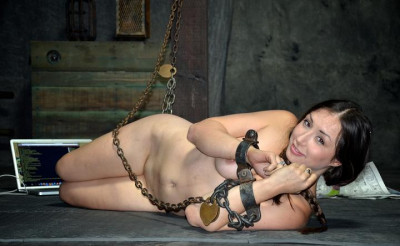 Delicate sex slave in chains