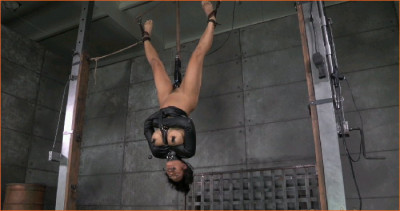 Curvy cutie Mia Li is suspended upside down