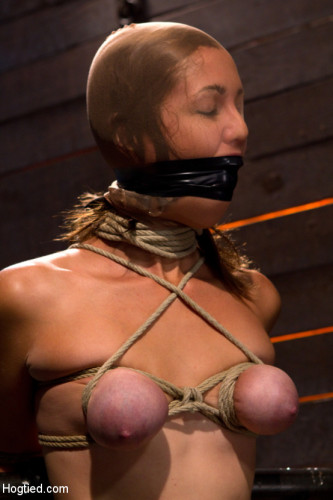 Audrey Had Her Breast Bound & Huge Mouth Properly Gagged. – Nipples Clamped And Made To Cum, & Cum