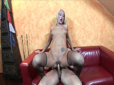 Stunning blonde swallows cum after hardcore sex