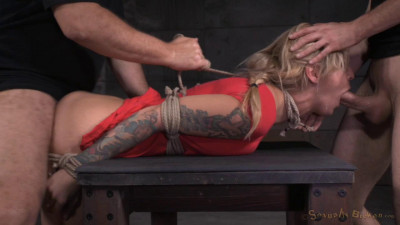 Kleio Valentien - Toned blonde tied up tightly and used roughly from both ends (2015)