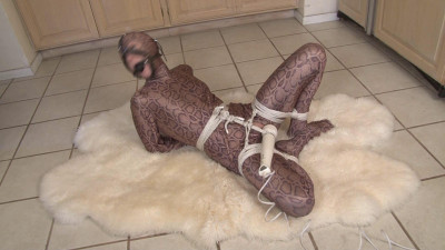 Bound And Gagged – Odette Delacroix Orgasm-Bound In Shiny Spandex Zentai Suit