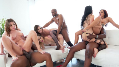 Interracial Orgy Buffet — Lex And Friends Order Up White Girl Anal, DP, Facials And More!