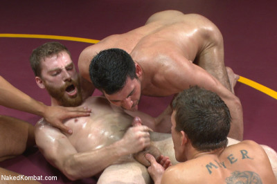 Four hot studs fight for the right to fuck in front of a live crowd!
