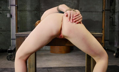 Sexy Redheaded cutie Marie McCray bound, sucks and fucks, brutal challenging deepthroat