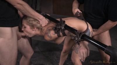 Kleio Valentien - Tattooed hottie bent in half in belt bondage and roughly fucked (2015)
