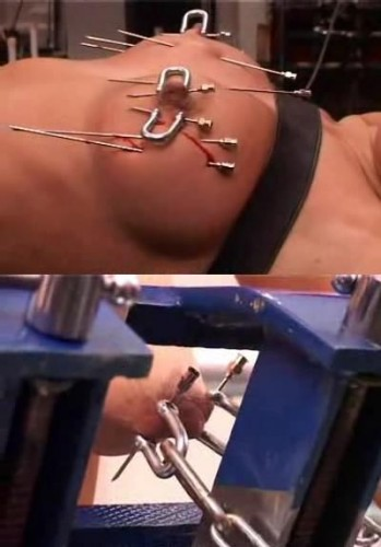 Torture for boobs with large needle