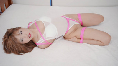 White Sheer Bodysuit & Pink Rope