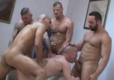 Brutal Men In Orgy At Work