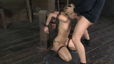 Applegate shackled and blindfolded, facefucked with brutal challenging deepthroat.