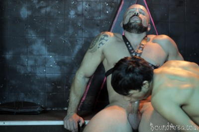 Bound Area - Tough SM stud handles his nude cuffed twink-sub