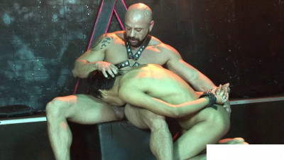 Tough SM Stud Handles His Nude Cuffed Twink
