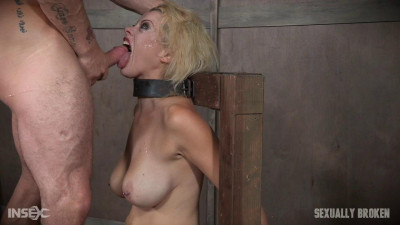 Nadia White is severely bound in metal, completely helpless on a sybian. Brutal throat boarding!