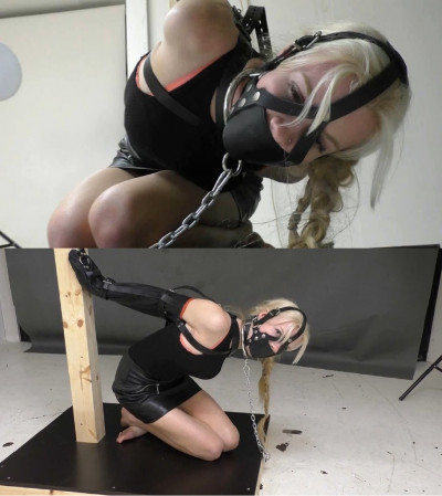 Super Bondage And Strappado For Young Blonde In Leather