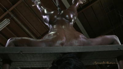 Anna Foxxx, is oiled, inverted, in stocks, impaled