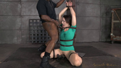 Sexy Sarah Shevon belted down and throatboarded by two huge cocks until she is utterly destroyed
