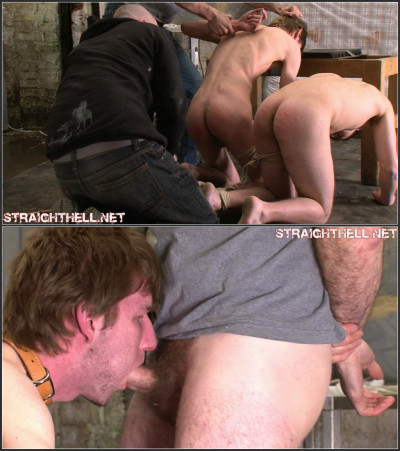 Toby4-l - Roped together & double caned while sucking cock, cum swallowing