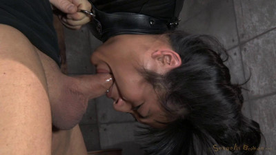 Curvy cutie Mia Li is suspended upside down in a straightjacket and worships cock while cumming!