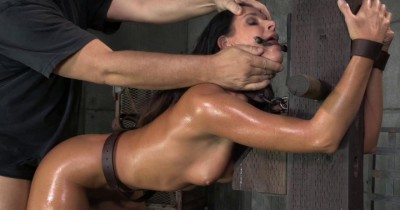 Stunning MILF India Summer belted down to a post and bred, 10 inch BBC and creampies!