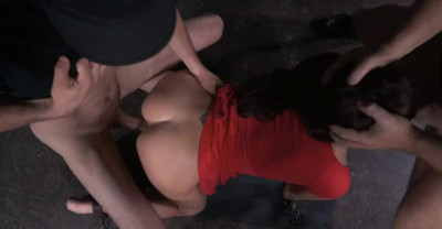 Brunette Bound Doggystyle With Rough Three Way Sex