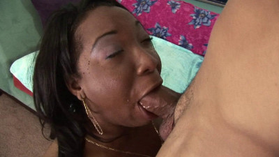Ebony got pussy filled with white cream