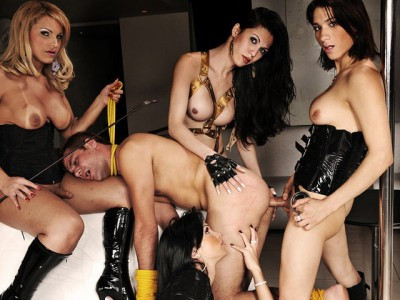 Submissive Gets Owned By Four Dommes