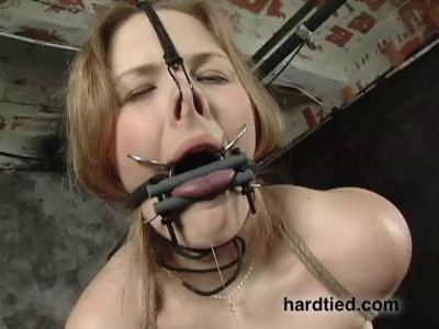 Tied balanced on her knees. her pussy crushed into a metal bar she is straddling