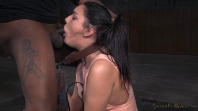 Paisley Parker  - Cute brunette Paisley Parker blindfolded in strict bondage