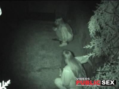 Pretty piss on the lawn, hidden camera