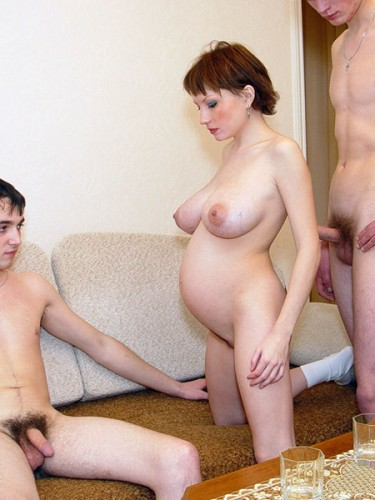 Pregnant Olga gave three guys in every hole