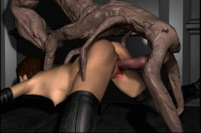 Huge 3d Monster Fuck Girl In Leather Outfit