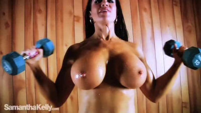Samantha Kelly — Dumbbells And Topless Workouts