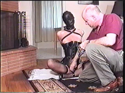 Bound and shes almost naked with only her panty covering her pussy