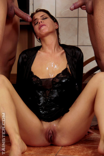Getting Her Blouse Double Splattered In Cum