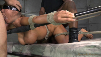 Giant Titted MILF Ava Devine Blindfolded Bound And Fucked Roughly By 2 Cocks, Filled And Creampied