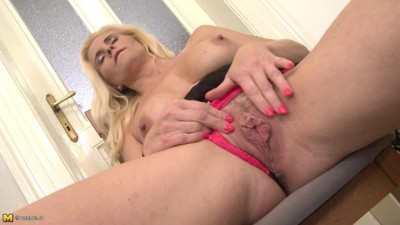 nice old blonde milf getting hot at the house