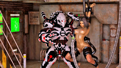 BDSM 3d going on with big evil robot and sexy gal