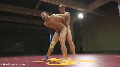 Two beefy hunks duke it out — Loser gets covered in hot wax & fucked!