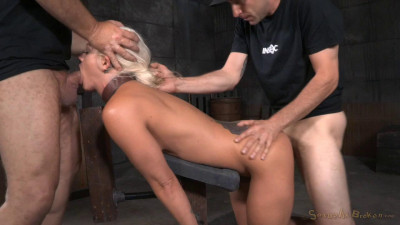 SexuallyBroken – Aug 28, 2015 – Busty Blonde Holly Heart Shackled Down Doggystyle And Roughly Fucked