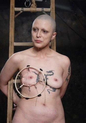 Bald slave in good BDSM