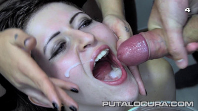 Slut swallows cum!